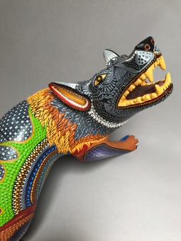 Coyote carved and painted wood