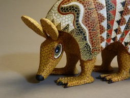 Carved and painted wood Armadillo