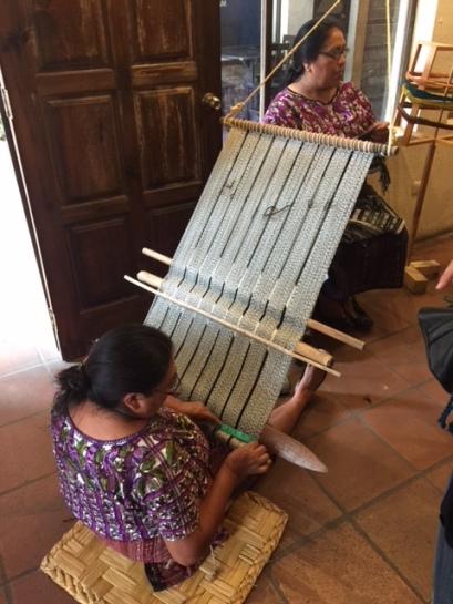 Back strap loom. Huipile wove
