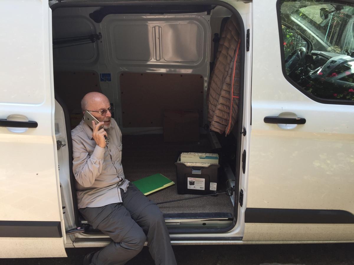 Mayer in the van
