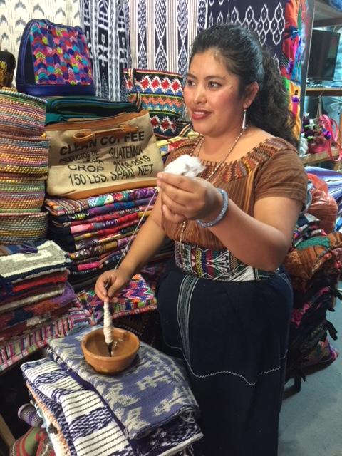 Juana spinning. Panajachel, Guatemala