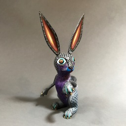 Hare Carved and painted wood