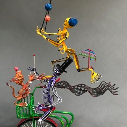 Circus bike detail Sculpted wire