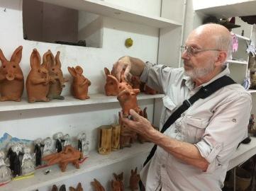 Mayer selecting rabbits