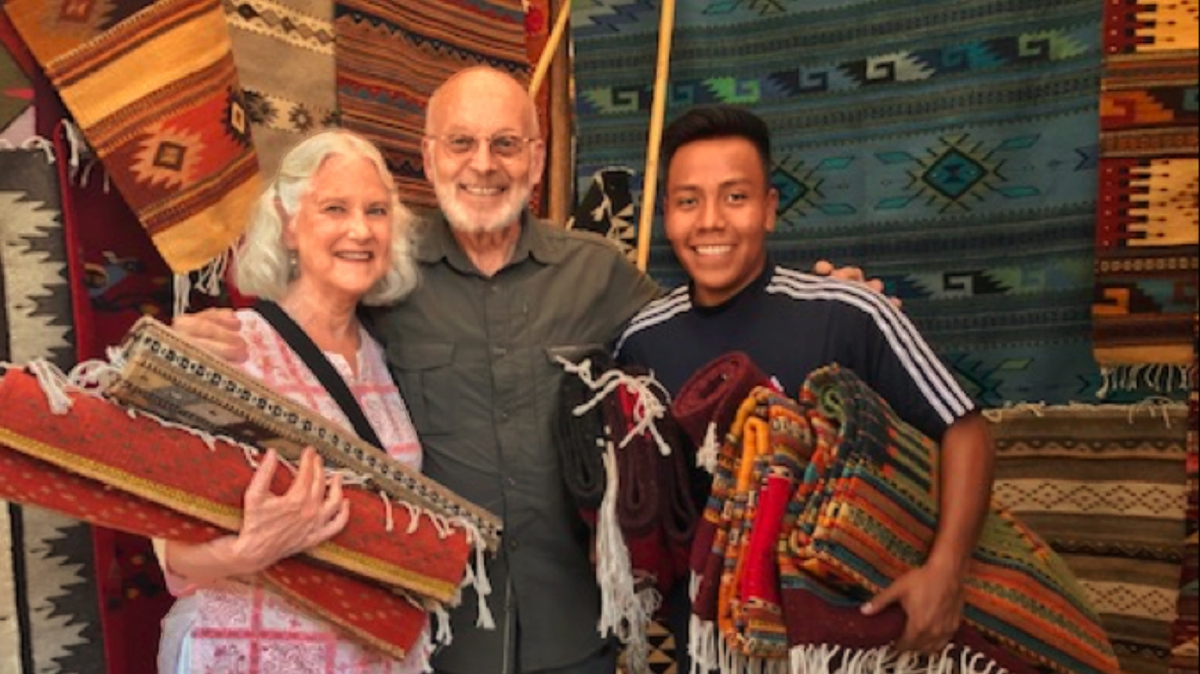 Susan and Mayer with weaver David