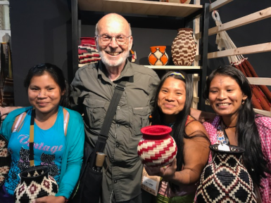 Mayer with Colombian artisans