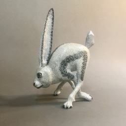 Carved and painted wood white bunny