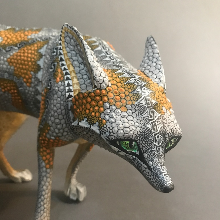 Carved and painted wood fox