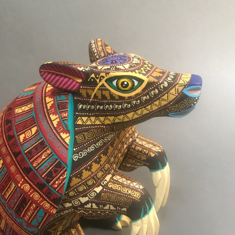 Carved and painted wood armadillo by Franco Ramírez