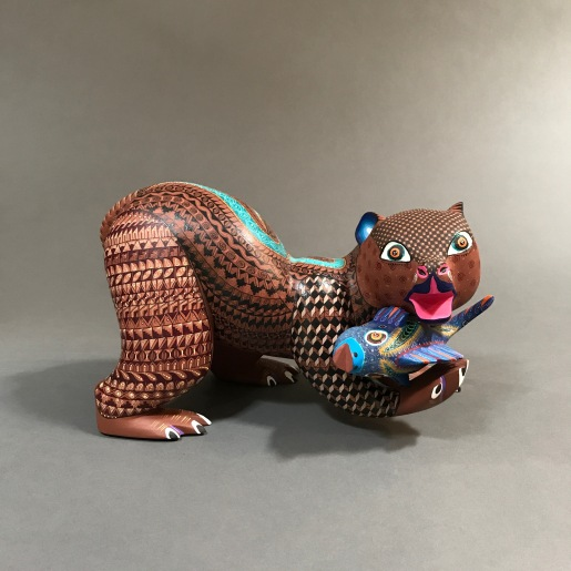 Carved and Painted Wood Bear by Franco Ramírez