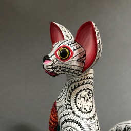 Carved and Painted Wood Cat by Franco Ramírez