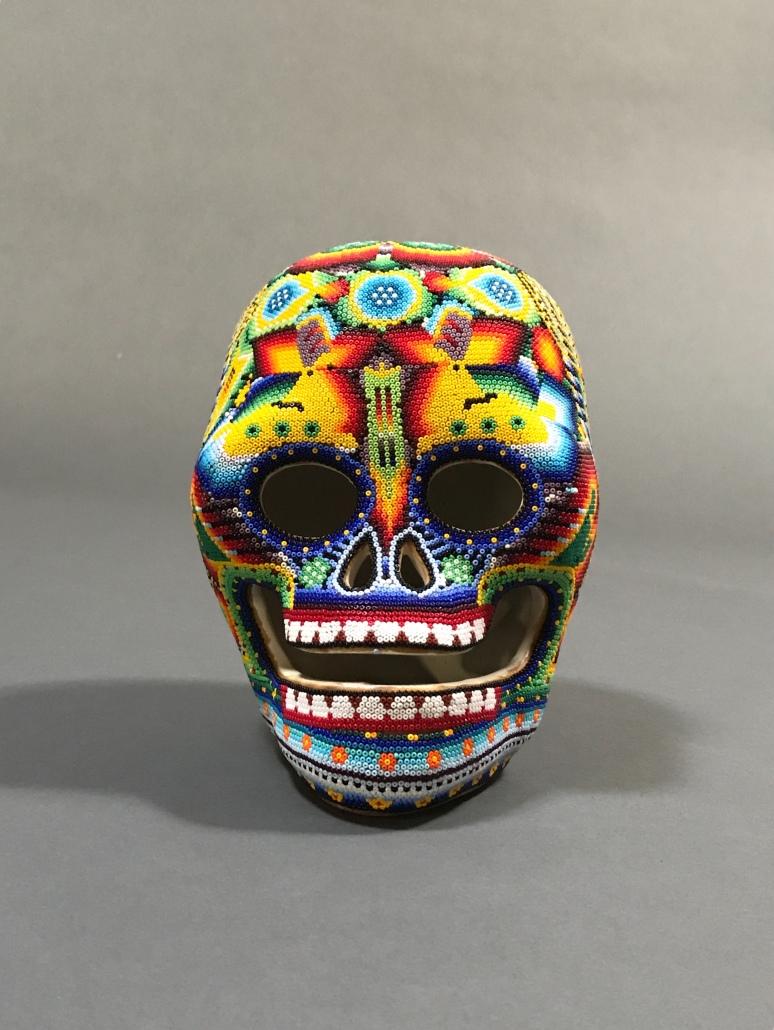 Huichol art skull by Karina & Maximino