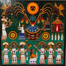 Huichol Yarn Painting by Gonzalo Carillo Hernandez