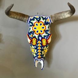 Huichol Beaded Bull Skull